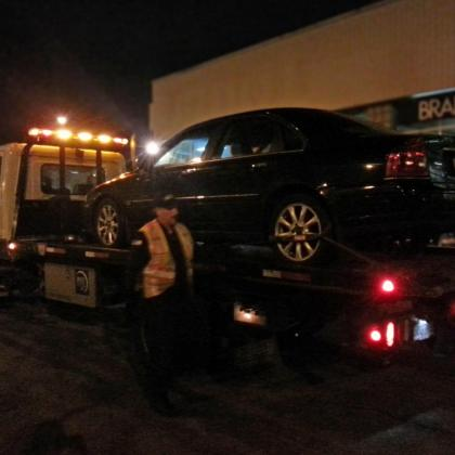 My 2004 Volvo S80 being towed